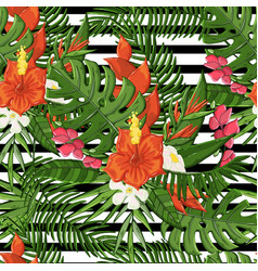 Plant seamless pattern with hibiscuspalm vector