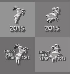 Polygonal golden ram sheep symbol of year vector