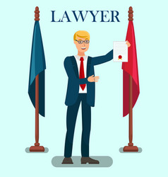Professional lawyer services flat poster template vector