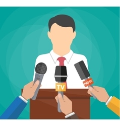 Public speaker and hands of journalists vector image