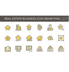 real estate business icon set design 48x48 pixel vector image