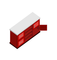 red cabinet isometric furniture design vector image