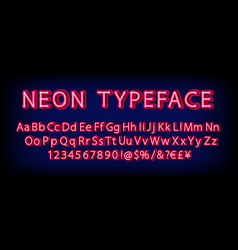 red neon character font set vector image