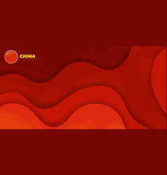 Red paper cut background china independence day vector