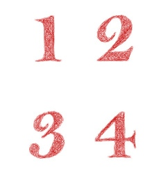 Red sketch font set - numbers 1 2 3 4 vector
