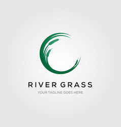 River grass green reed cattails letter c initial vector