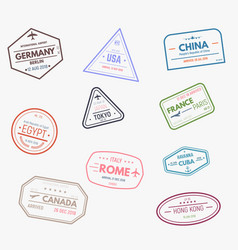 Rubber visa stamps vector