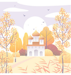 Rural scene with church and autumn trees vector