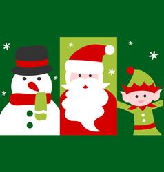 Santa claus snowman and elf - christmas card vector