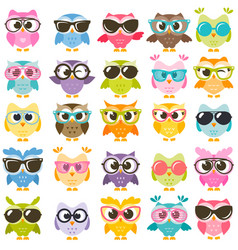 Set colorful owls with glasses isolated on vector