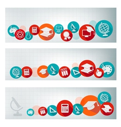 Set of education banners with icons vector image