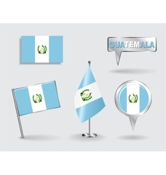 Set of Guatemalan pin icon and map pointer flags vector