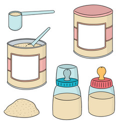 set of milk powder vector image