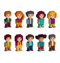 Set of pixel art style isometric character vector