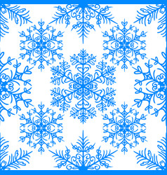 Simple seamless pattern with snowflakes on white vector