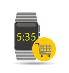 smart watch technology with shopping cart vector image