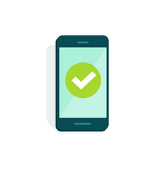 Smartphone with checkmark on display vector