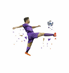 soccer player best shoot of the ball vector image