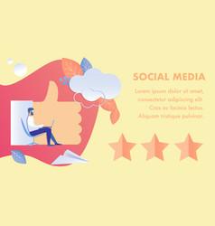 Social media feedback flat banner template vector