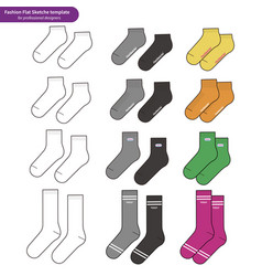 Socks set fashion flat sketch template vector