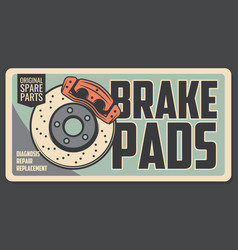 Spare brake pads diagnosis repair and replacement vector
