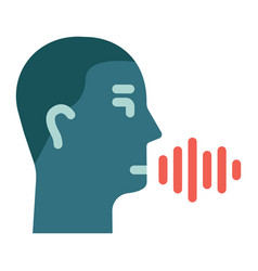 speech recognition flat icon voice control vector image