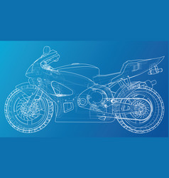 sport motorbike technical wire-frame vector image