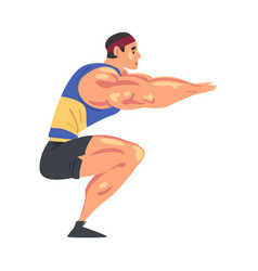 Sportive muscular man doing squats physical vector