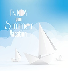 Summer holiday vacation poster with paper boats vector
