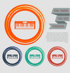 synthesizer icon on the red blue green orange vector image