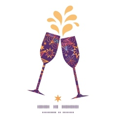 Textured christmas stars toasting wine glasses vector
