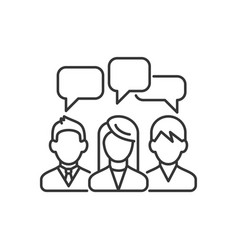 three speaking people with chat bubbles under head vector image