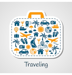 Travel holiday suitcase paper cut vector image vector image