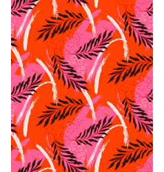 tropical jungle red palm leaves isolated seamless vector image