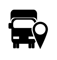 truck or van with gps map pointer icon vector image
