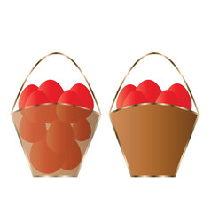 Two baskets with red easter eggs vector