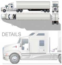 Vector HI detailed semi truck vector