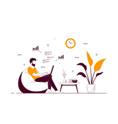Young man at home sitting in chair bag and working vector