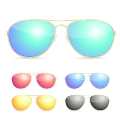 Aviator Colorful Sunglasses Set vector image