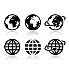 Globe earth icons set with reflection vector image vector image