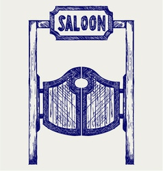 Old western swinging saloon doors vector image vector image