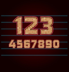 Retro Light Bulb Font from 0 to 9 vector image