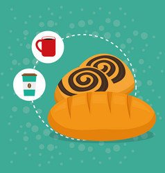 delicious bread biscuit bakery coffee vector image