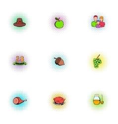 Gratitude celebration icons set pop-art style vector image vector image