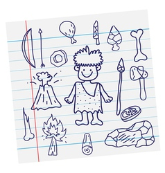 outline image Stone age cartoon vector image vector image