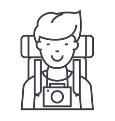 travelleractive tourist with camera and backpack vector image