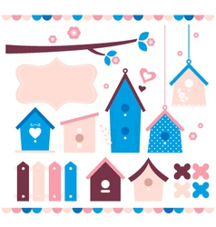 Beautiful colorful Bird houses set vector image vector image