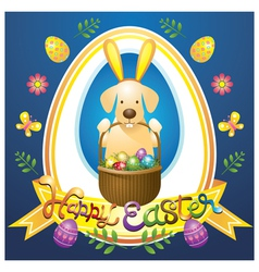 Easter Heading Label with Labrador Dog as Bunny vector image vector image
