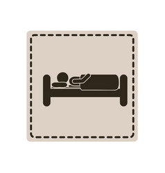 emblem sticker bed and person sleeping vector image vector image
