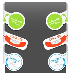 left and right side signs - contact us and call us vector image vector image